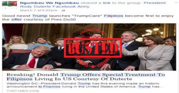 Busted: Trump offered special treatment to Filipinos in the US due to Duterte? Fake news!
