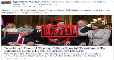 Trump offered special treatment to Filipinos