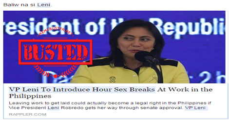 Robredo to introduce sex breaks