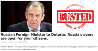 Busted: Russian FM told Duterte Russia's doors are open to Filipinos? Fake news!