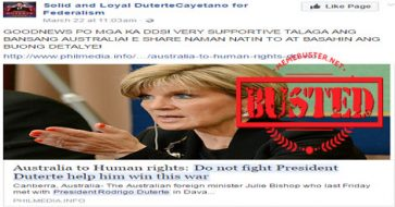 Busted: Australian FM told human rights not to fight Duterte, help his drug war instead? Hoax alert!