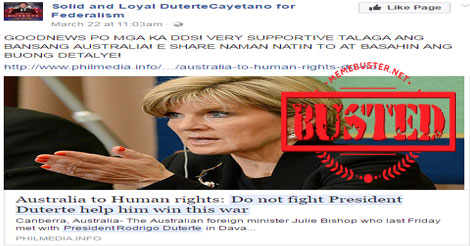 Australian FM told human rights