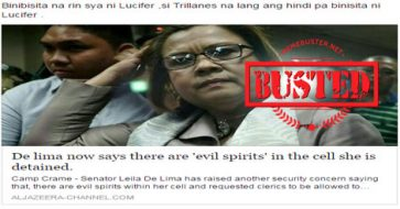 Busted: De Lima said her detention cell has 'evil spirits'? Not true at all!
