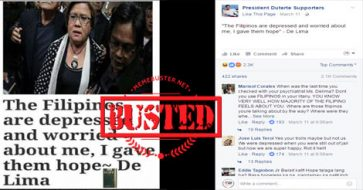 "Busted: De Lima claimed Filipinos are ""depressed and worried"" about her? It's a made-up story!"