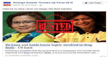 Busted: Aside from De Lima, US intel also showed Loida Lewis involved in drugs? Hoax alert!