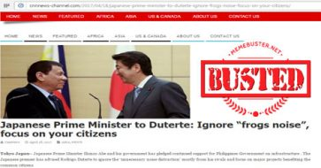 "Busted: Japanese PM told Duterte to ignore ""frogs' noise"" and focus on Filipinos? It's a hoax!"