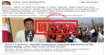 Busted: Saudi Arabians requested Duterte to be their king after his presidency ends? Hoax alert!