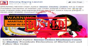 Busted: CJ Sereno orders Mindanao courts to disobey Duterte's martial law declaration? Misleading headline!