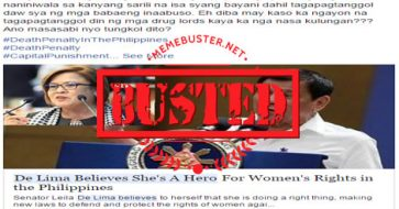 Busted: De Lima believes she's a hero for defending women's rights? Misleading title!