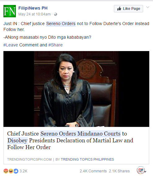 CJ Sereno disobey Duterte
