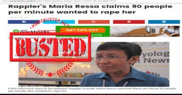 Busted: Headline 'Rappler's Maria Ressa claims 90 people per minute wanted to rape her' is FAKE!