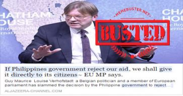 Busted: European Parliament member wants to give EU aid rejected by Duterte directly to Filipinos? It's fake news!