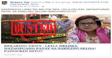 Busted: De Lima found dead in her prison cell? It's a HOAX!