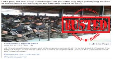 Busted: Mocha Uson shares FB post using Honduras police photo while urging for prayers for PH army