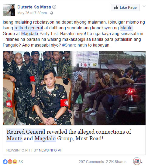 Magdalo is connected to Maute group
