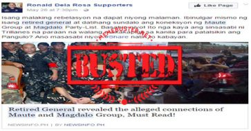 Busted: Magdalo is connected to Maute group? Not true! Even defense chief Lorenzana dismissed it