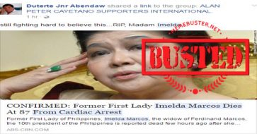 Busted: Imelda Marcos died from cardiac arrest? It's another death hoax!