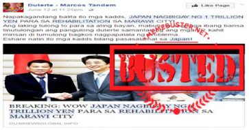 Busted: Japan gave 1 trillion yen in financial assistance, investments in January, not for Marawi rehab