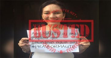 Busted: Photo of Hontiveros holding up #PrayForMaute sign is fake!