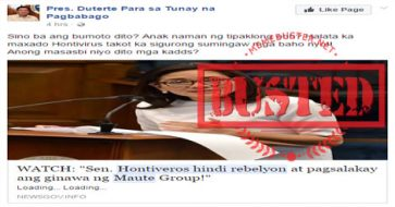 Busted: Headline 'Sen. Hontiveros hindi rebelyon at pagsalakay ang ginawa ng Maute Group' is MISLEADING!