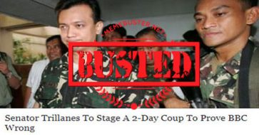 Busted: Trillanes to stage a 2-day coup d'etat to prove BBC wrong? It's a satirical piece!