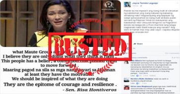Busted: Hontiveros did not call Maute as 'epitome of courage and resilience' or source of inspiration! Fake meme!