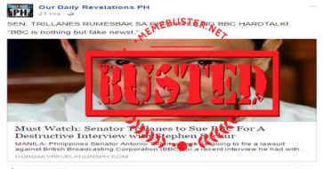 Busted: Trillanes to sue BBC after his 'devastating' interview with Stephen Sackur? It's fake news!