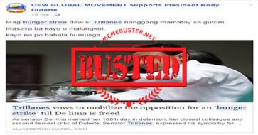 Busted: Trillanes vowed to mobilize opposition for a 'hunger strike' for De Lima's freedom? Fake news alert!