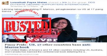 Busted: US and 17 other countries banned anti-Marcos book? Story was published by fake news site