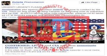 Busted: Blog claimed it is 'confirmed' that LP, US, CIA will soon assassinate Duterte? Misleading headline again!