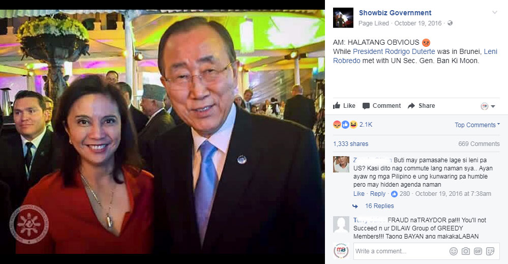 Robredo met with Ban Ki Moon