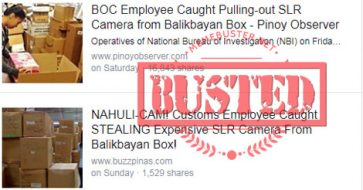 Busted: BOC employee caught pulling out SLR camera from balikbayan box? It's satirical news!
