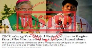 Busted: CBCP asked mom of 13-year-old victim of sexual abuse to forgive the priest? It's FAKE news