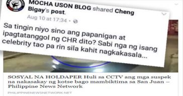 Mocha Uson re-posts holdup incident, but original poster tells Uson to look for PNP, not CHR
