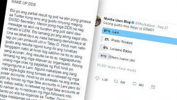 Uson notices organized Yellows on Twitter after Robredo wins Twitter poll, urges DDS not to fight each other