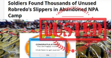 Busted: Thousands of Robredo's slippers found in abandoned NPA camp? Story came from a fake news site!
