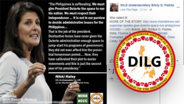 Official FB page of DILG undersecretary shares Makabenta's column based on fake news