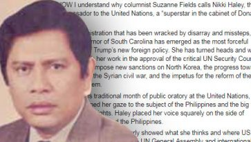 Columnist falls for fake news over US ambassador Haley allegedly asking space for Duterte to run PH