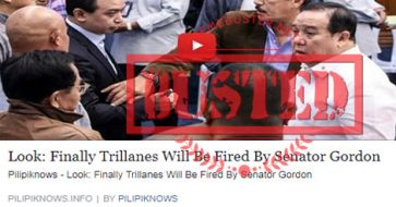Busted: Trillanes will be fired by Gordon? It's a misleading take on Gordon filing an ethics complaint against Trillanes