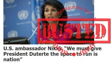 """Busted: """"US ambassador Nikki"""" said Duterte must have space to run his nation? It's fake news!"""