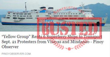 Busted: 'Yellow Group' rents Superferry ships to transport Sept. 21 protesters from VisMin? Story came from fake news site