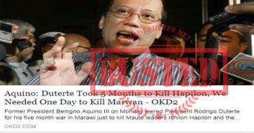 Busted: 'Duterte took 5 months to kill Hapilon, we needed one day to kill Marwan'? Aquino did not say this!