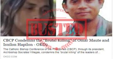 Busted: CBCP condemned 'brutal killing' of Maute, Hapilon? It's categorized as satire by source site!