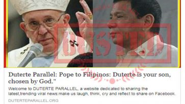 Busted: Pope told Filipinos Duterte was chosen by God? It's fake news!