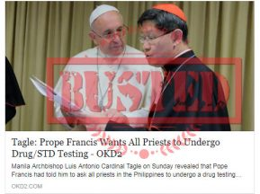 Busted: Did Pope Francis want priests to undergo drug, STD testing? No, he didn't!