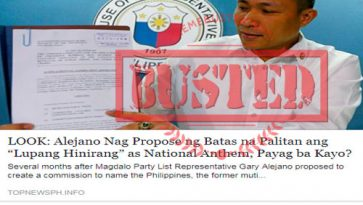 Busted: Alejano proposed to replace Lupang Hinirang as national anthem? It's fake news!