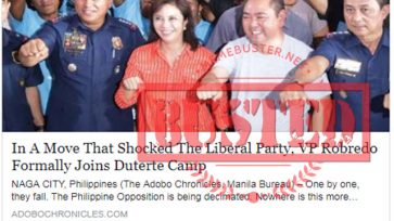 Busted: Robredo joined Duterte's camp? It's a satirical piece!