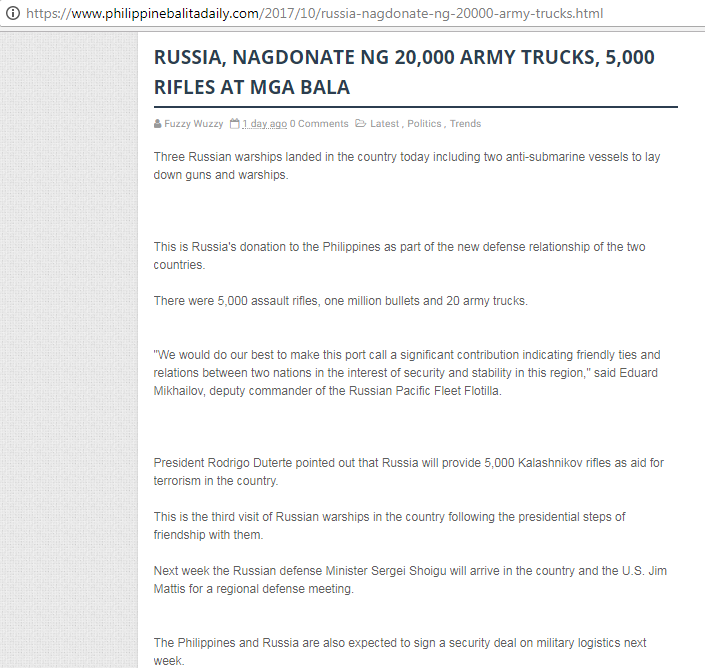 Russia donated 20,000 army trucks to PH