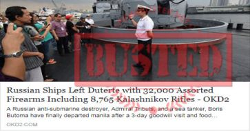 Busted: Russian ships left Duterte with 32,000 firearms including 8,765 Kalashnikov rifles? Not true at all!