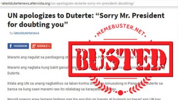 Busted: UN apologized to Duterte for doubting him? It's fake news!